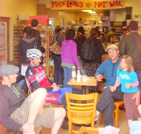 Customers inside one of the Arizmendi Bakeries.
