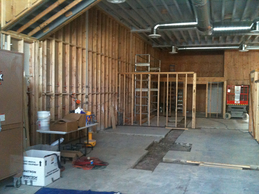 Interior of a building under construction, from the buildout of Arizmendi Bakery in 2010