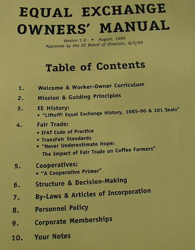 EE Owners Manual Table of Contents
