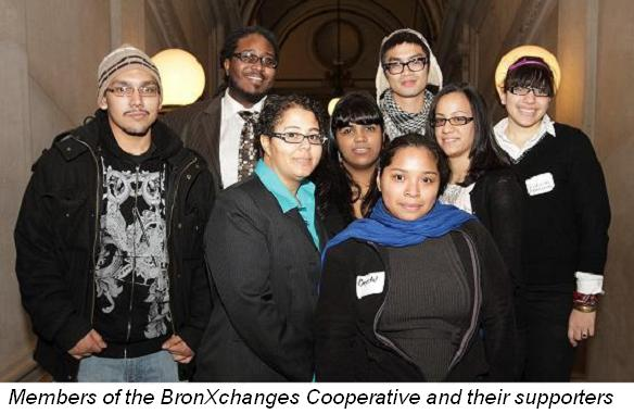 Members of the BronXchanges Cooperative and their supporters
