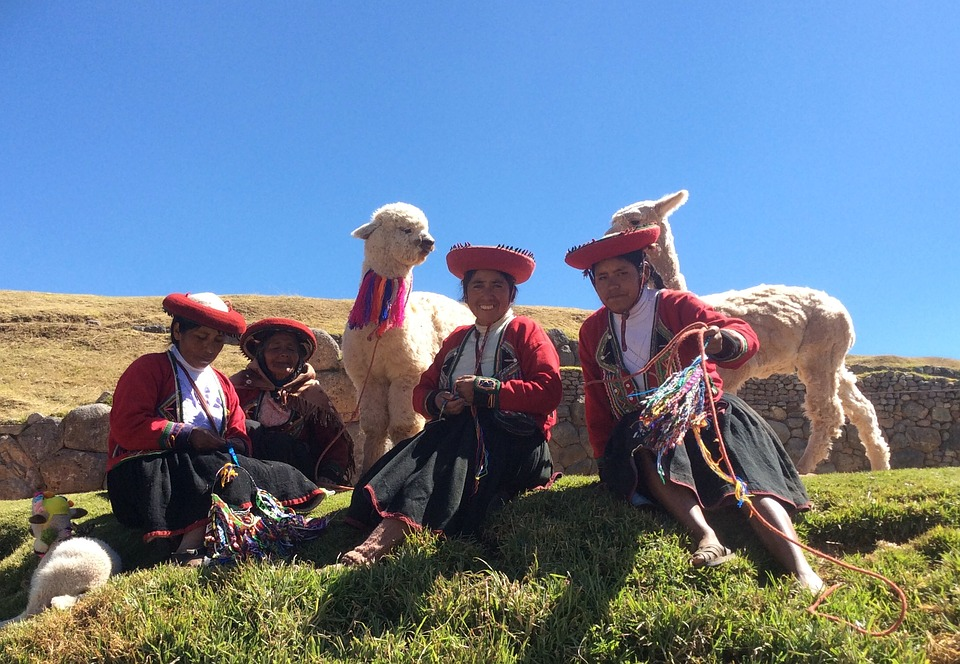 Andean women in traditional clothing, sitting on a hill with two alpacas.