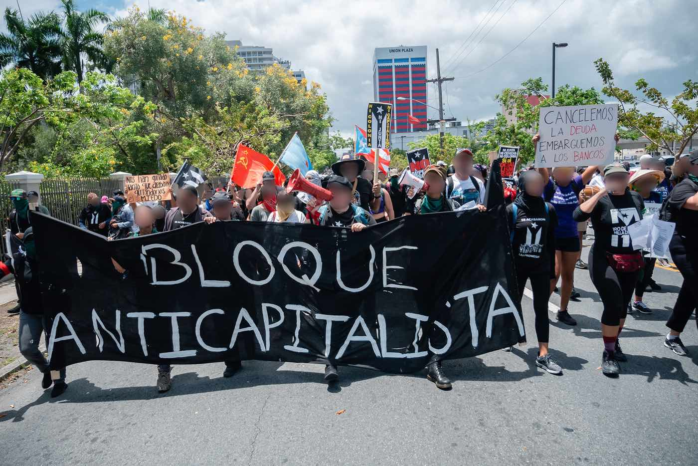An anti-capitalist bloc marching on May Day 2019.