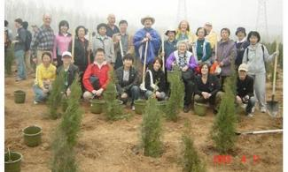 Gung Ho members tree planting in Huairou county, near Beijing, 2008.
