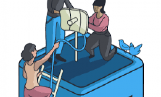 graphic of people placing a rooftop attenna.