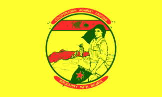 "Solidarity with Rojava Flag, which reads ""Co-operation against fascism, Solidarity with Rojava."""