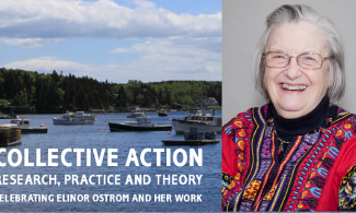 Image of Elinor Ostrom and fishing boats in a harbor.