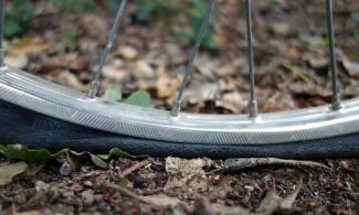 A flat bicycle tire.