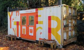 Shipping Container building housing the Thingery tool sharing library.