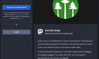 Screen capture of the Social.coop about page.