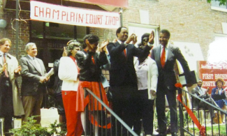 Historical photo of ribbon cutting ceremony at Champlain Court Co-op.