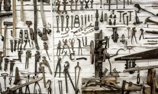 Wall of hand tools. Photo by Lachlan Donald.